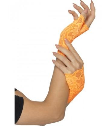 80s Fingerless Lace Gloves, Short