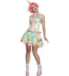 Fever Deluxe Vintage Clown Costume, with Corset