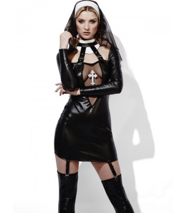 Fever Role-Play Nun Wet Look Costume