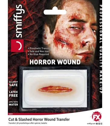Horror Wound Transfer, Cut & Slashed Wound