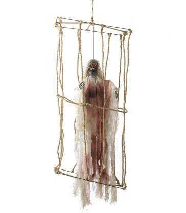 Animated Hanging Caged Skeleton Decoration