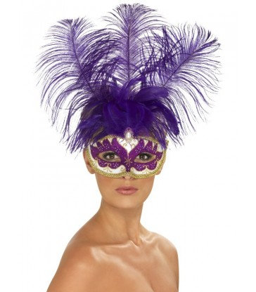 Purple Can Can Beauty Eyemask with Feather