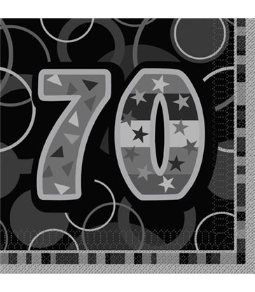 16 BLACK GLITZ LUNCH NAPKINS -70