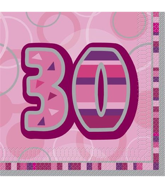 16 PINK GLITZ LUNCH NAPKINS-30