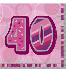 16 PINK GLITZ LUNCH NAPKINS-40