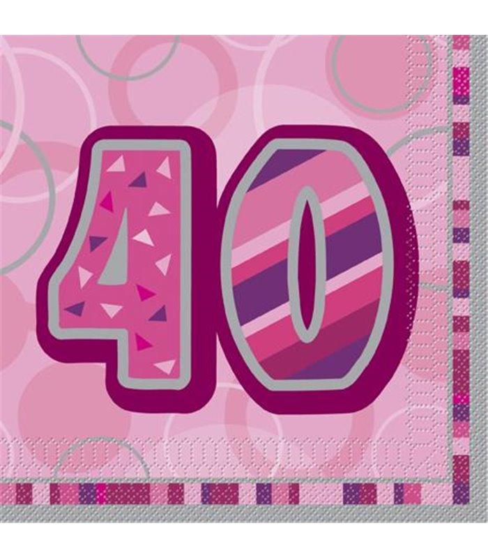 16 PINK GLITZ LUNCH NAPKINS-40