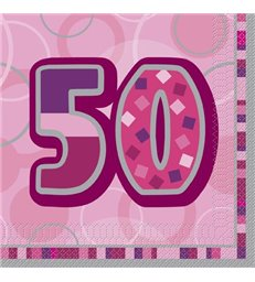 16 PINK GLITZ LUNCH NAPKINS-50