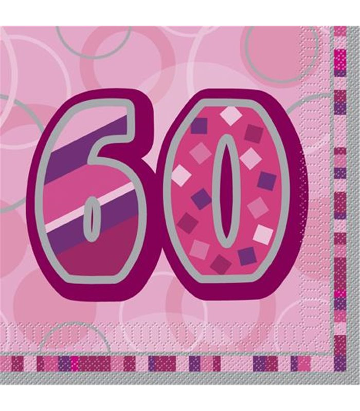 16 PINK GLITZ LUNCH NAPKINS-60
