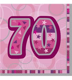 16 PINK GLITZ LUNCH NAPKINS-70