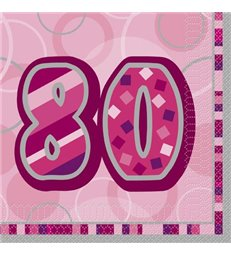 16 PINK GLITZ LUNCH NAPKINS-80