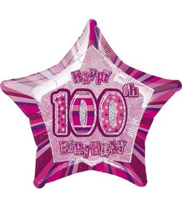 "20"" PKG PINK STAR PRISM 100 FOIL BALLOON"