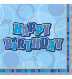 16 BLUE HBIRTHDAY GLITZ LUNCH NAPKINS