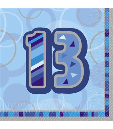 16 BLUE GLITZ LUNCH NAPKINS -13