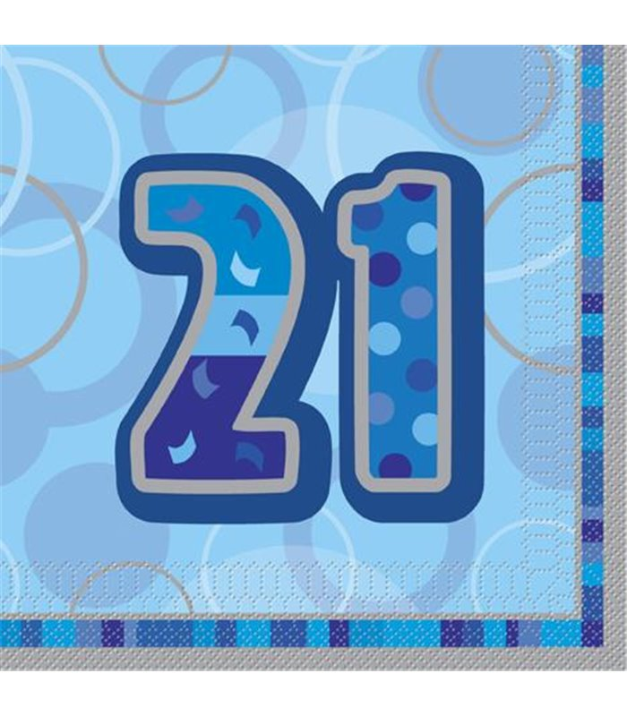 16 BLUE GLITZ LUNCH NAPKINS -21