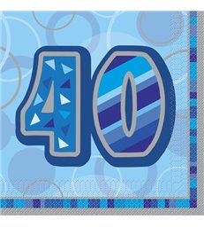16 BLUE GLITZ LUNCH NAPKINS -40