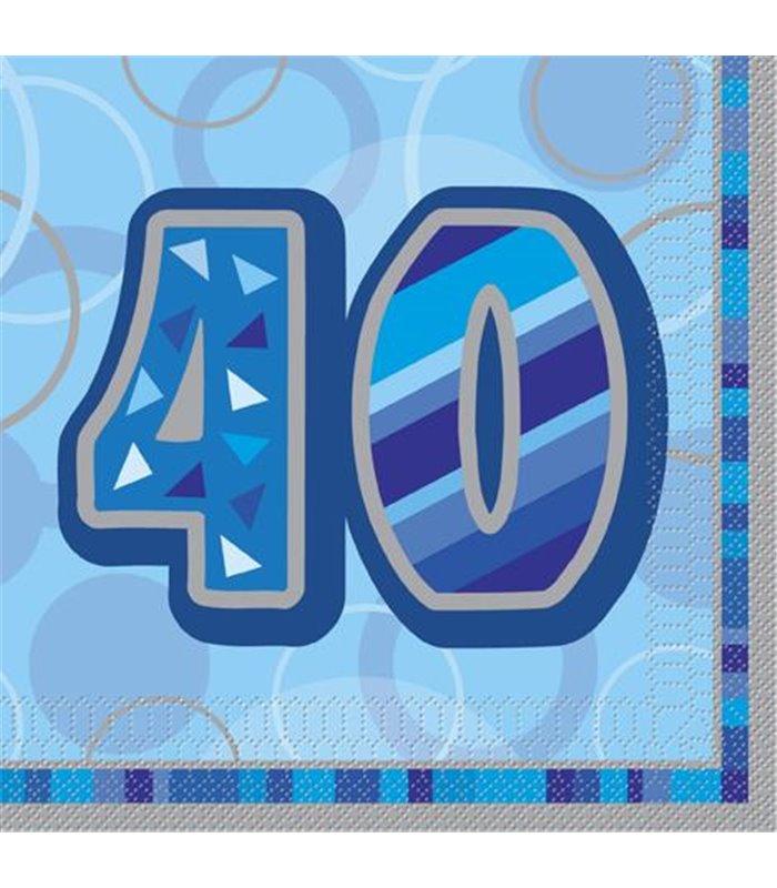 16 BLUE GLITZ LUNCH NAPKINS -40