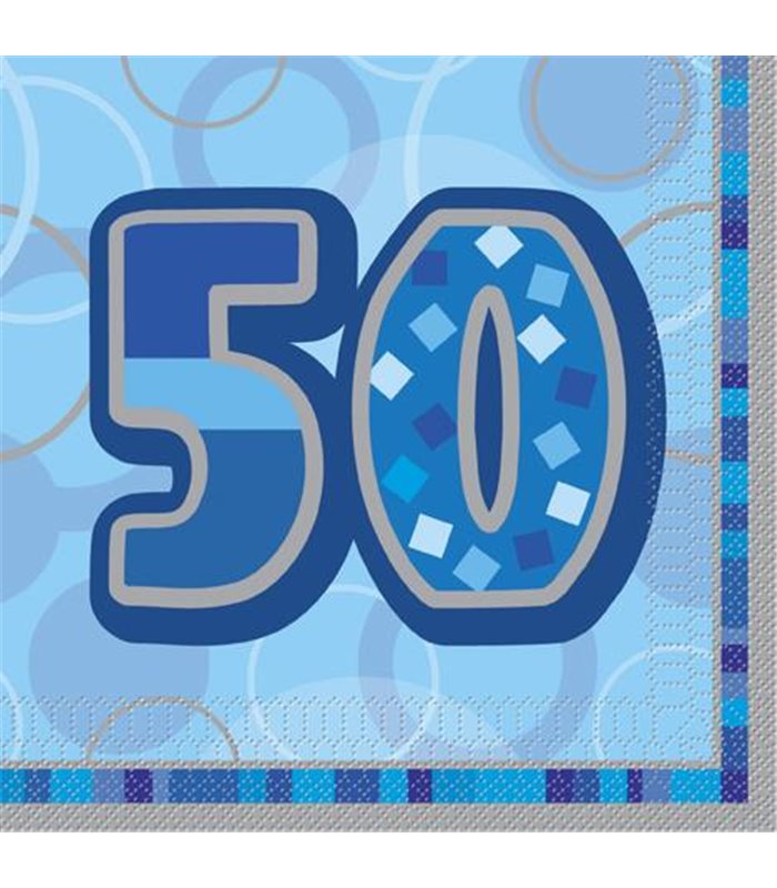 16 BLUE GLITZ LUNCH NAPKINS -50