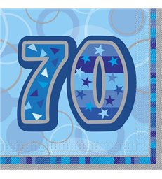 16 BLUE GLITZ LUNCH NAPKINS -70