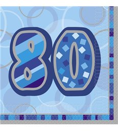 16 BLUE GLITZ LUNCH NAPKINS -80