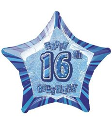 20'' PKG BLUE STAR PRISM 16 FOIL BALLOON