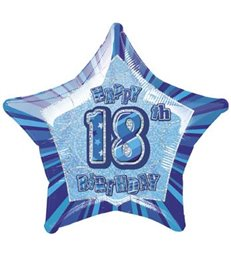20'' PKG BLUE STAR PRISM 18 FOIL BALLOON