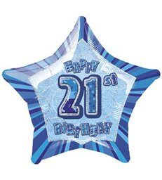 20'' PKG BLUE STAR PRISM 21 FOIL BALLOON