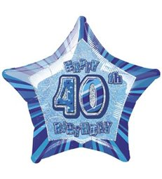 20'' PKG BLUE STAR PRISM 40 FOIL BALLOON