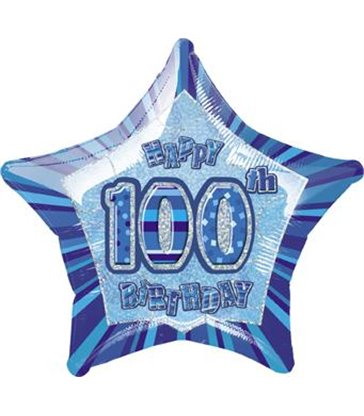 "20"" PKG BLUE STAR PRISM 100 FOIL BALLOON"