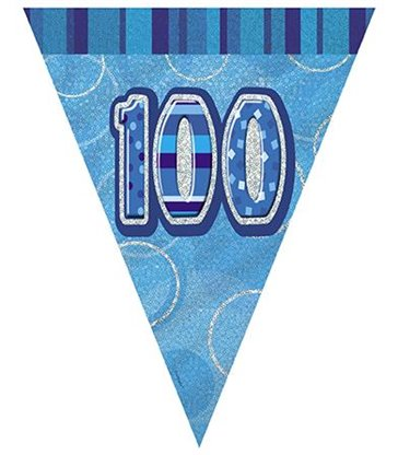 BLUE GLITZ 100 FLAG BANNER 12FT