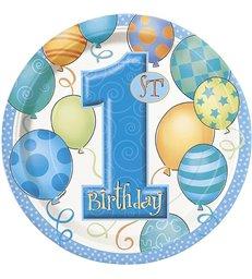 "8 FIRST BIRTHDAY BLUE 9"" PLATES"