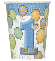 8 FIRST BIRTHDAY BLUE 9 OZ CUPS