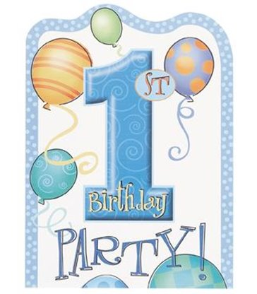 8 FIRST BIRTHDAY BLUE INVITATIONS