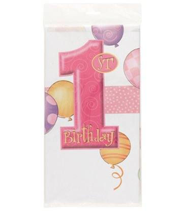 FIRST BIRTHDAY PINK TABLECOVER PLASTIC
