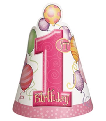 8 FIRST BIRTHDAY PINK PARTY HATS