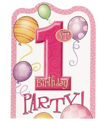 8 FIRST BIRTHDAY PINK INVITATIONS