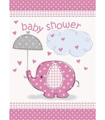 8 UMBRELLAPHANTS PINK INVITES