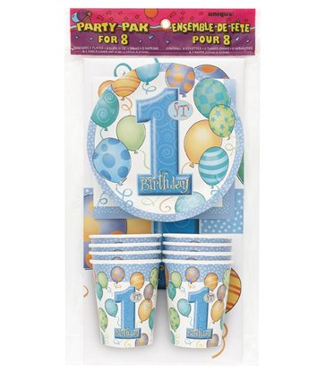 FIRST BIRTHDAY BLUE PARTY PAK FOR 8