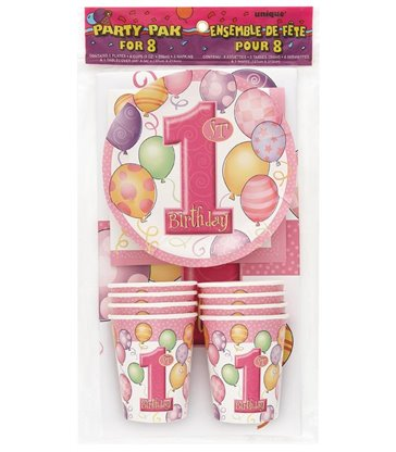 FIRST BIRTHDAY PINK PARTY PAK FOR 8