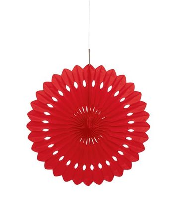"DECORATIVE FAN 16"" RED"