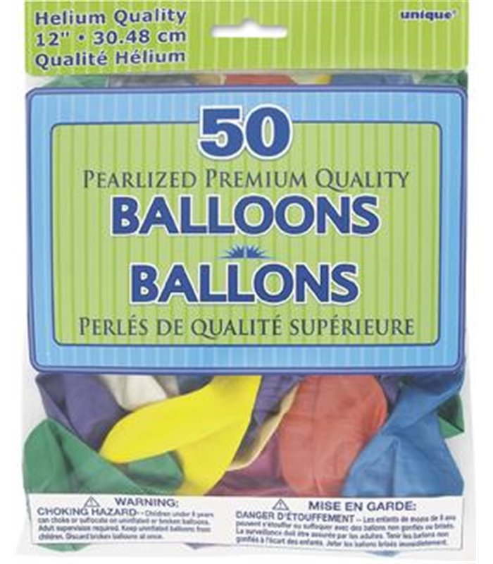 """50 12"""" PASTEL PEARLISED ASSORTED BALLOONS"""