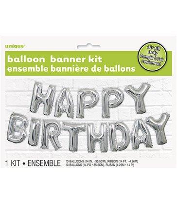 """14"""" SILVER BIRTHDAY LETTER BALLOONS BANNER KIT"""