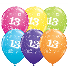"Age 13 Pack of 6 11"" assorted coloured balloons"