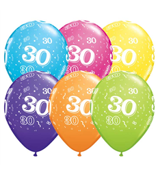 "Age 30 Pack of 6 11"" assorted coloured balloons"