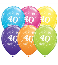 "Age 40 Pack of 6 11"" assorted coloured balloons"