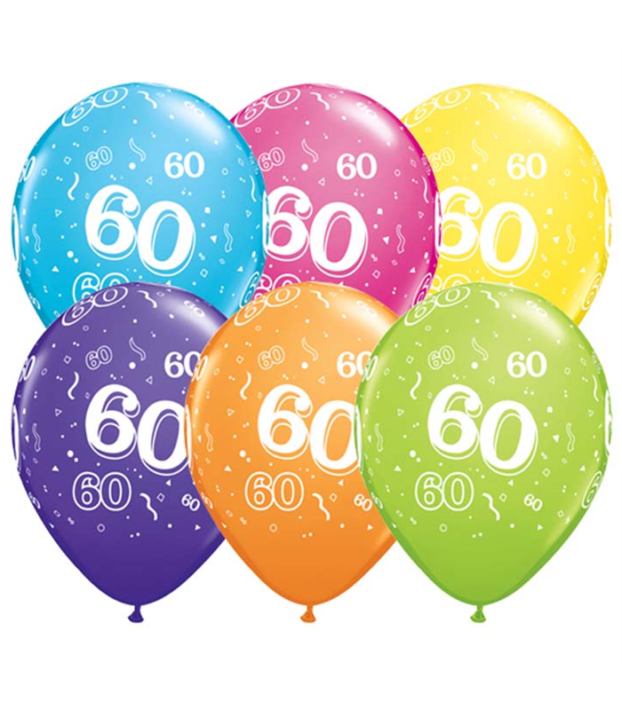 """Age 60 Pack of 6 11"""" assorted coloured balloons"""