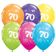 """Age 70 Pack of 6 11"""" assorted coloured balloons"""