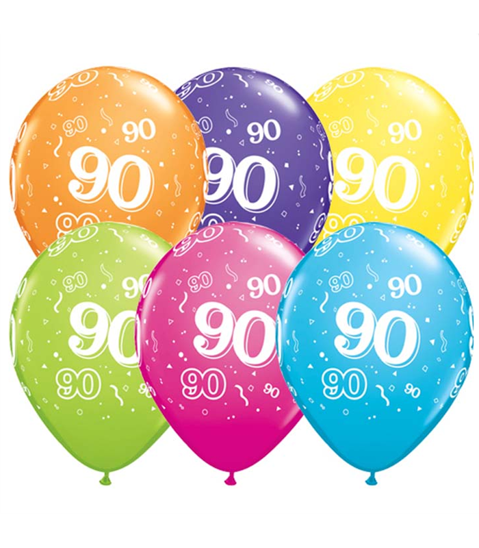 "Age 90 Pack of 6 11"" assorted coloured balloons"