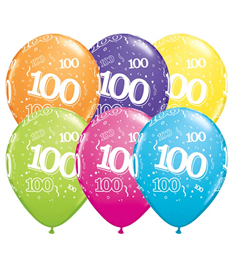 """Age 100 Pack of 6 11"""" assorted coloured balloons"""