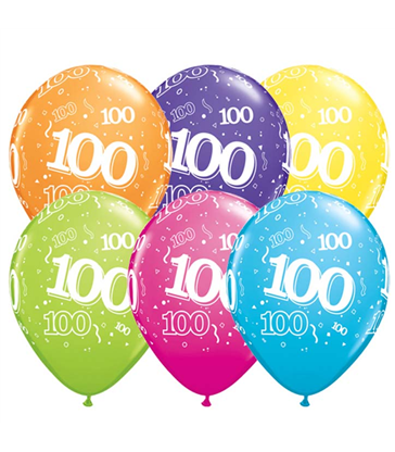 "Age 100 Pack of 6 11"" assorted coloured balloons"
