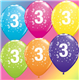 """Age 3 Pack of 6 11"""" assorted coloured balloons"""
